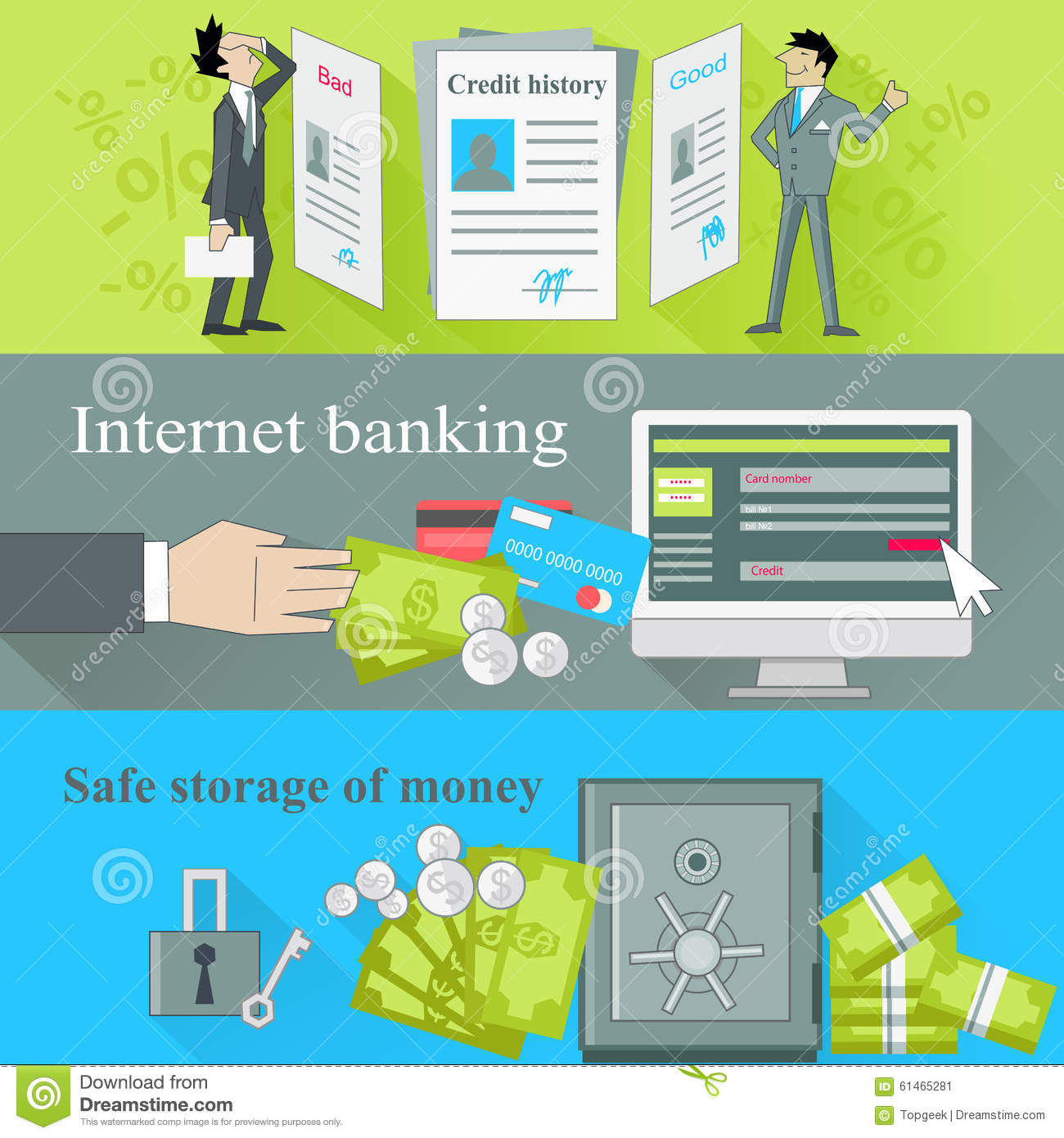 Loan With Bad Credit >> Internet Banking And Safe Storage Money Stock Vector - Image: 61465281