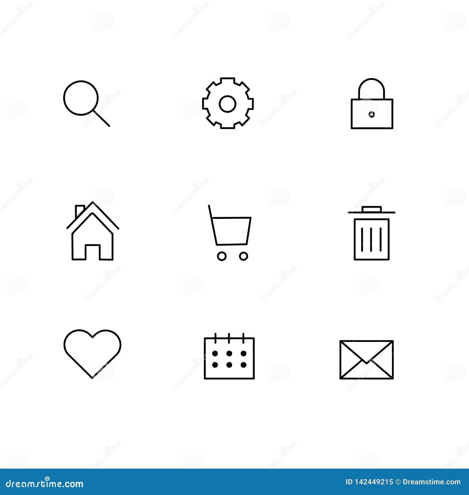 Internet-bedrijfs grijze die pictogrammen met de pictogrammen van het het vuilnise-mail huis van het marktonderzoek worden geplaa