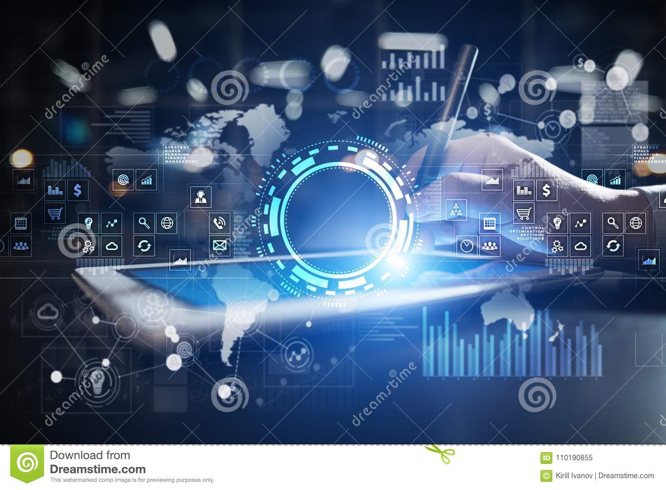 Internet, Business and technology concept. Icons, diagrams and graphs background on virtual screen.