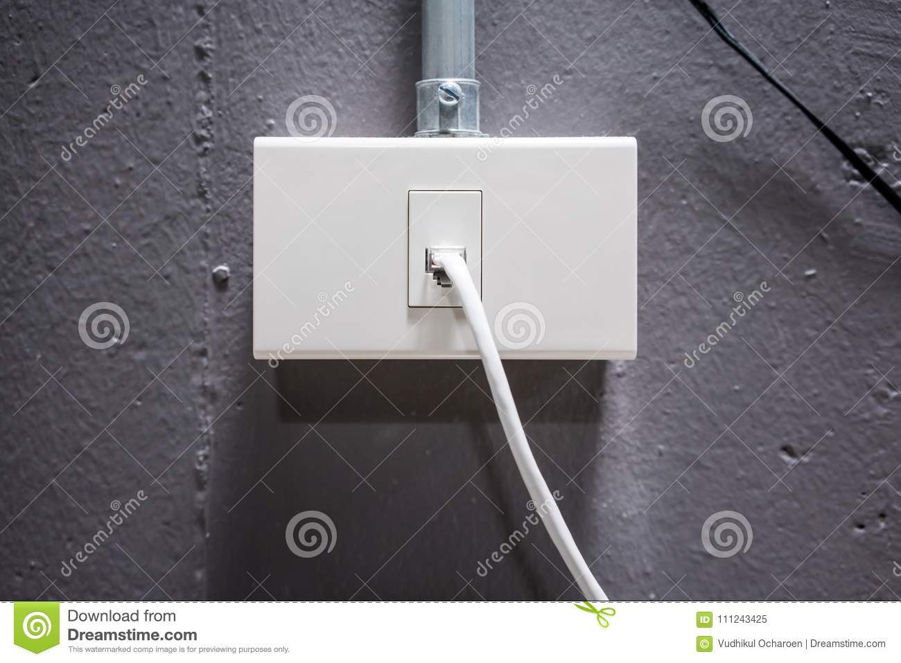 Internet Cable With White Network Outlet Against Grey ...