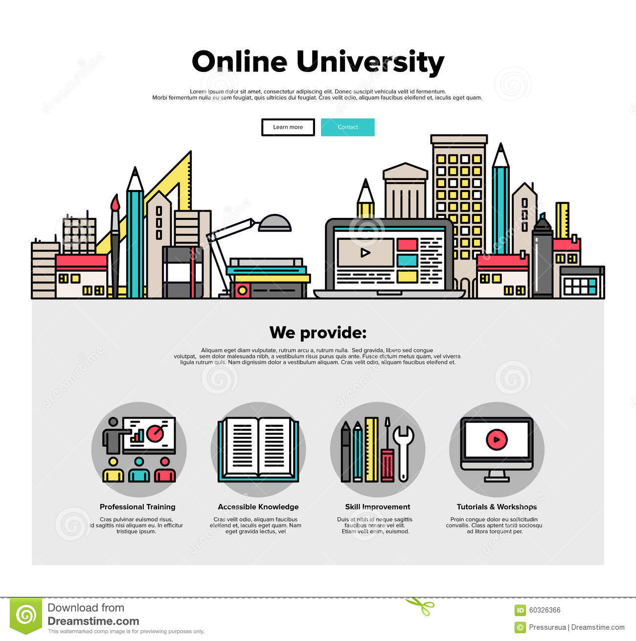 internet campus flat line web graphics stock vector