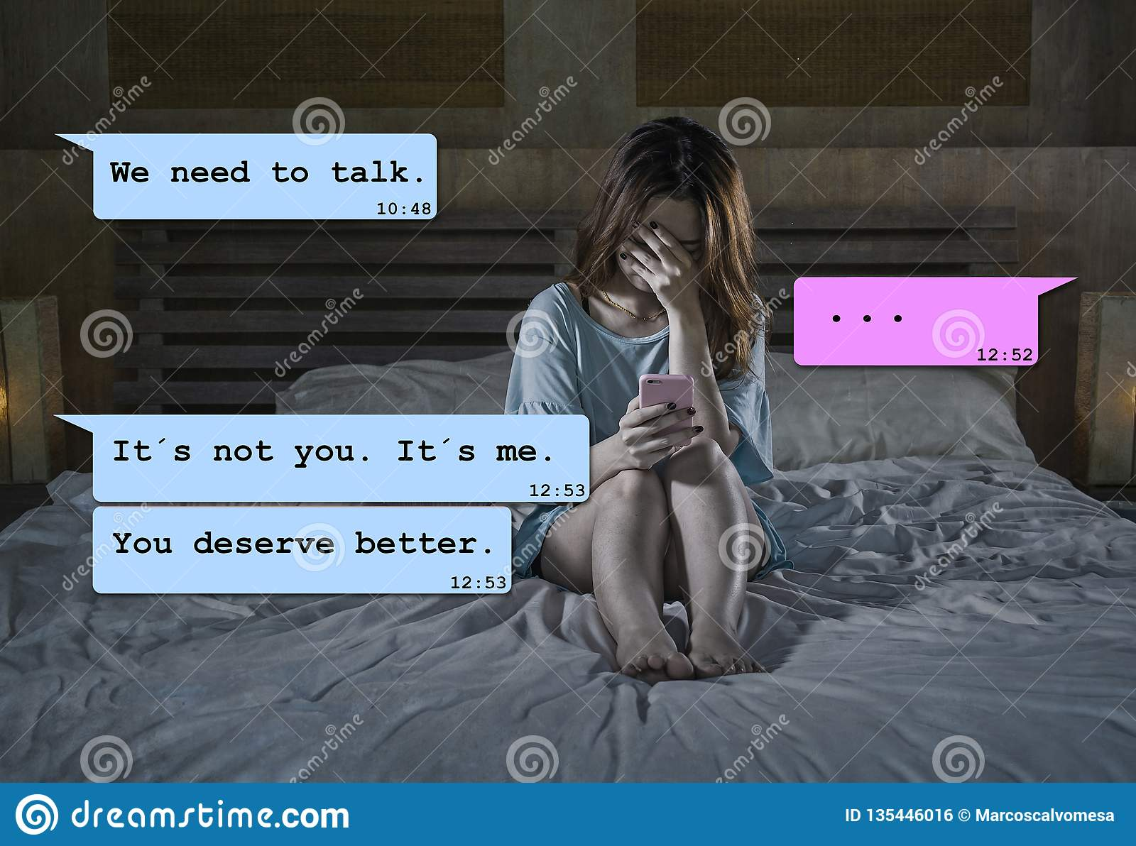 Internet chat composite with young woman desperate in bed suffering pain dumped by his boyfriend via mobile phone receiving