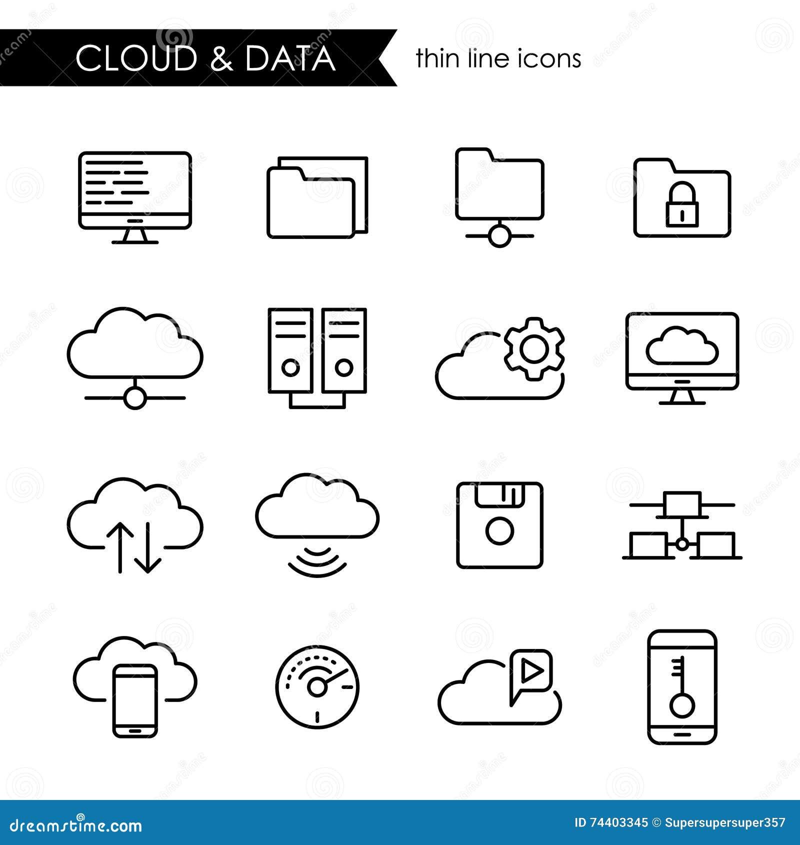 Internet chmura i przechowywanie danych ikony cienki kreskowy set
