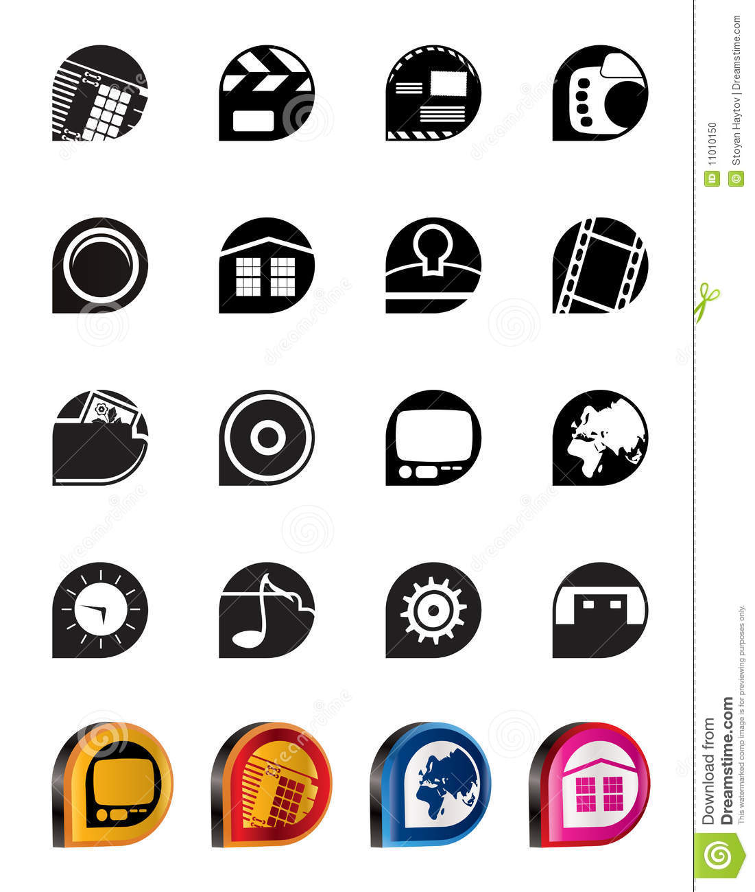 Internet, Computer And Mobile Phone Icons Stock Photo - Image ...