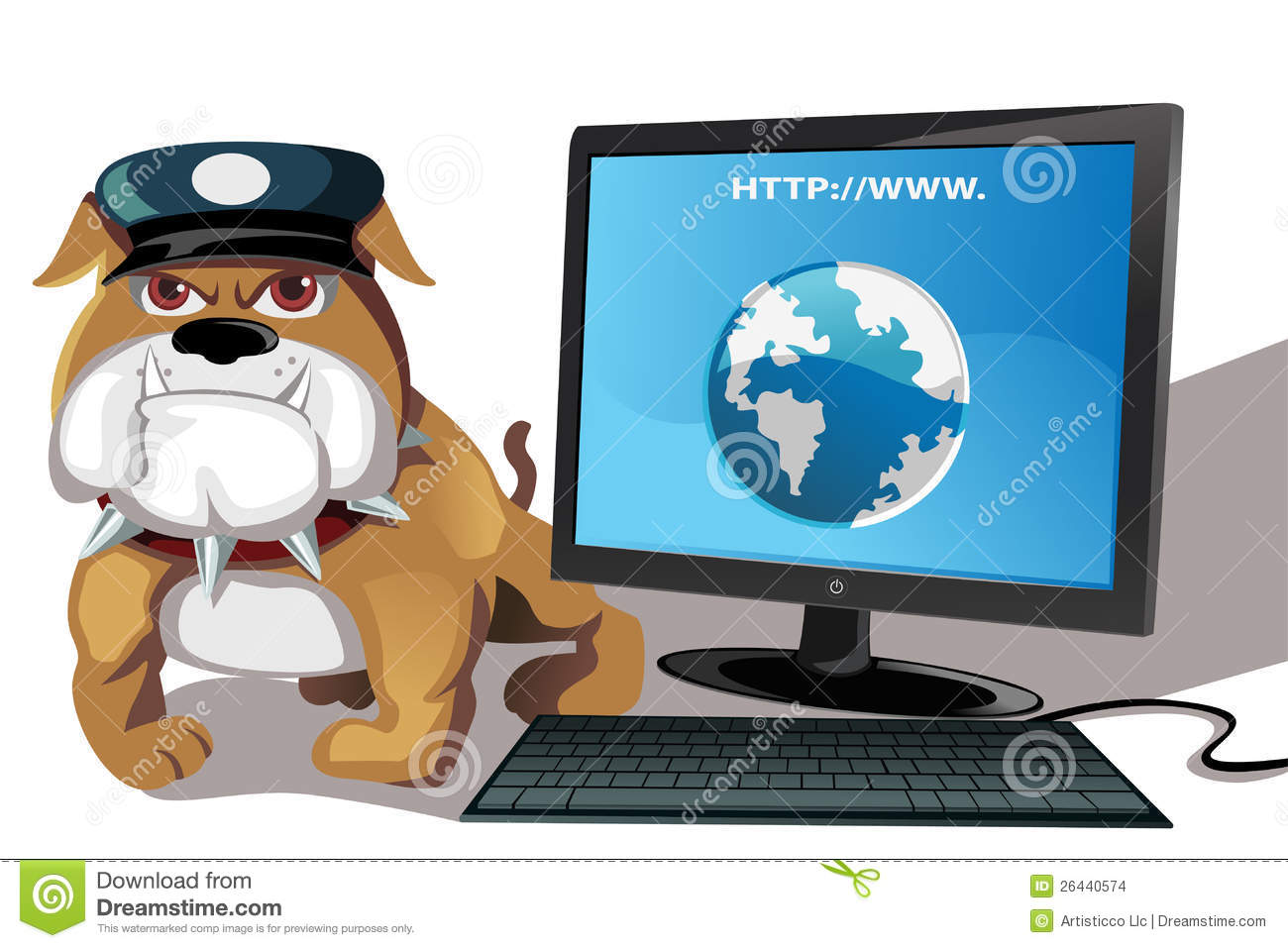 vector illustration of internet or computer security concept.