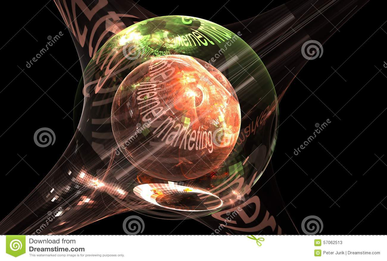 Internet-concept - marketing, digitaal beeld van kleurrijke lichte en abstracte vormen