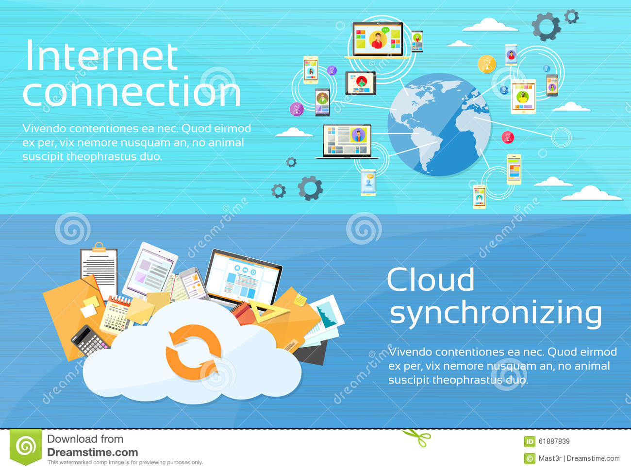 Internet Connection Cloud Synchronizing Computer Stock Vector - Image ...