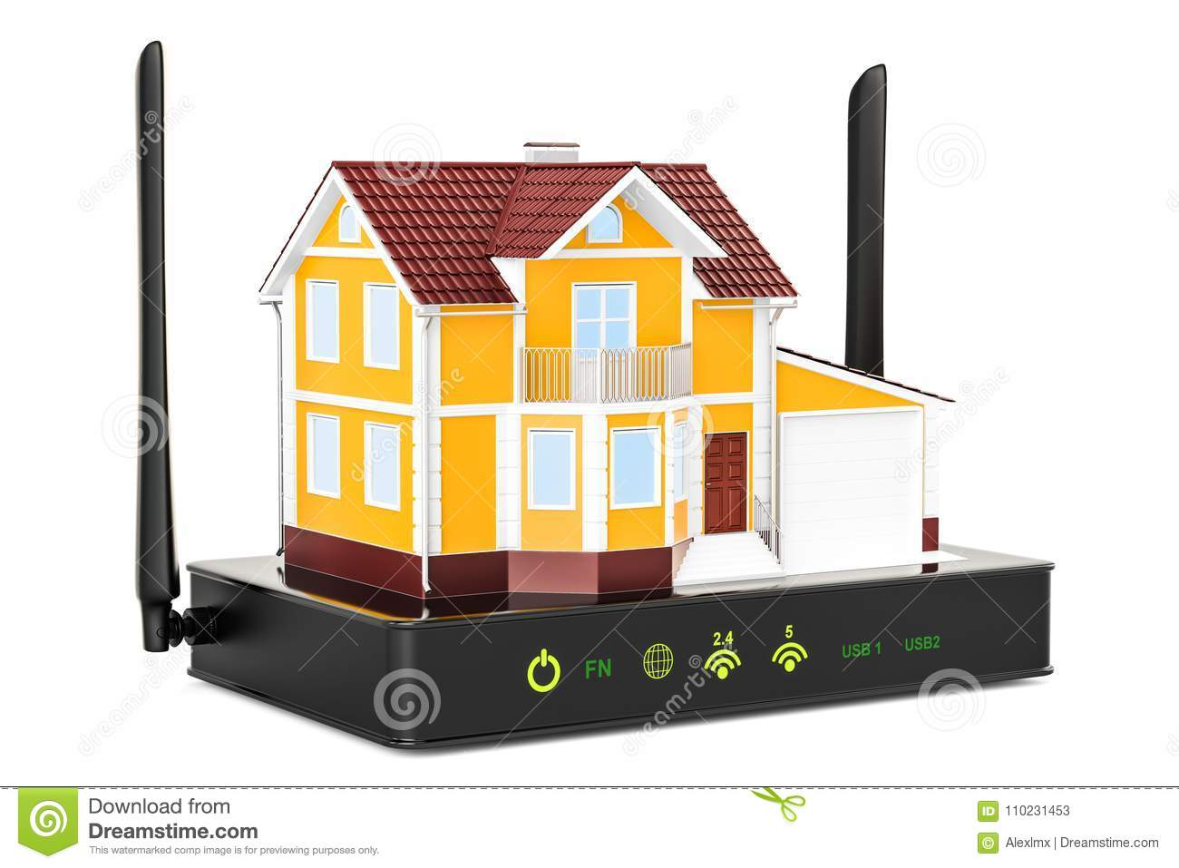 Internet Connection Concept Wireless Internet Router With House