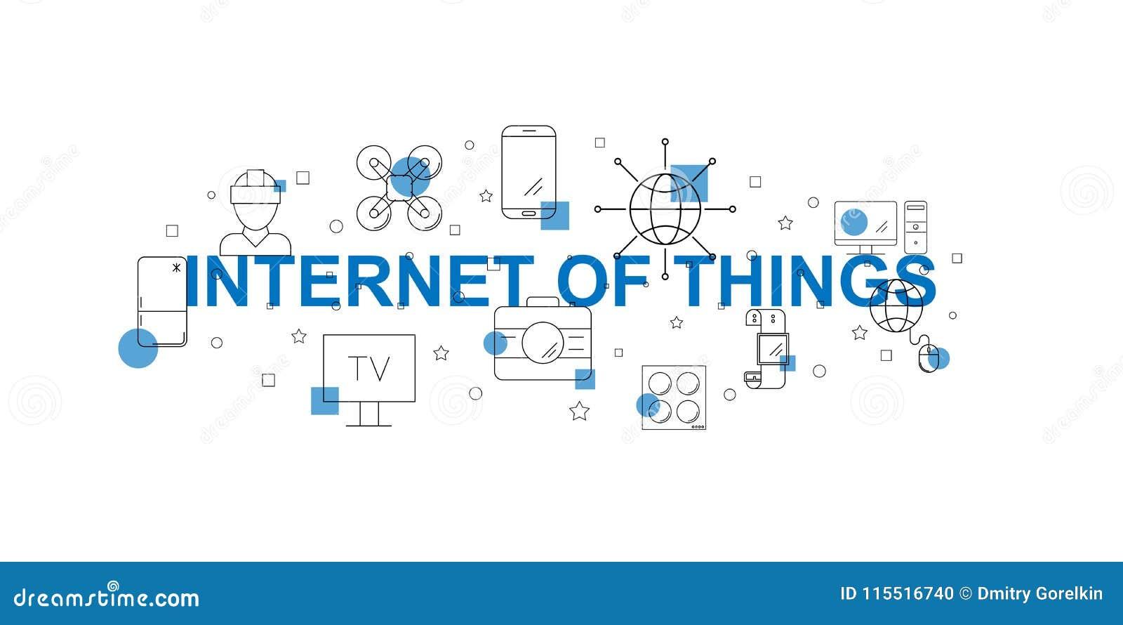 Internet da bandeira do vetor das coisas Palavra com linha ícone