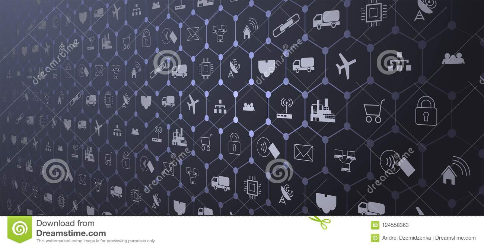 Internet das coisas IoT e do conceito dos trabalhos em rede para dispositivos conectados Web de aranha de conexões de rede