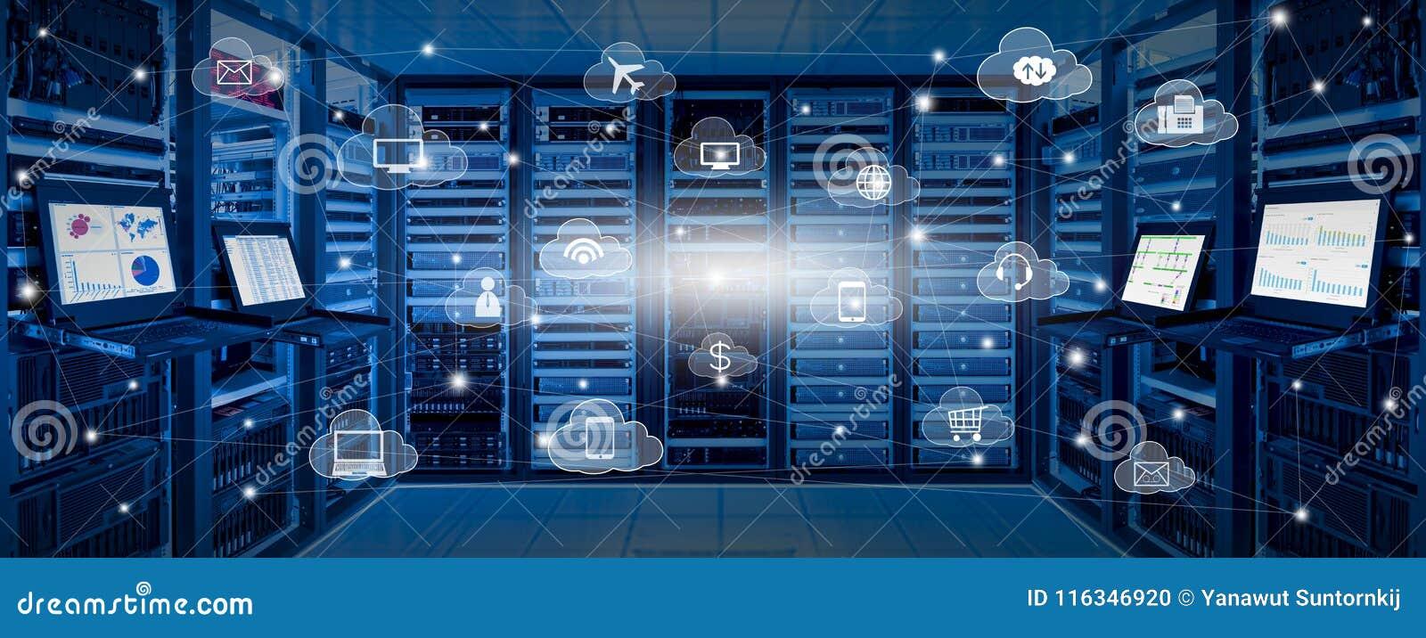 Internet data center and cloud services concept