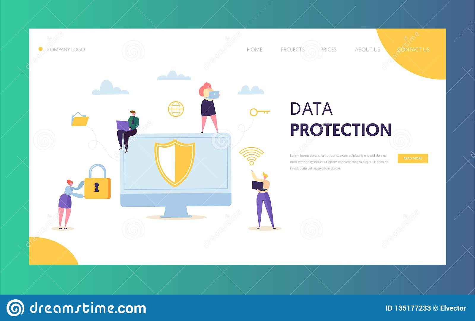 Internet Data Safety Network Landing Page. Business Information Digital Shield Technology Icon Server Privacy Encryption