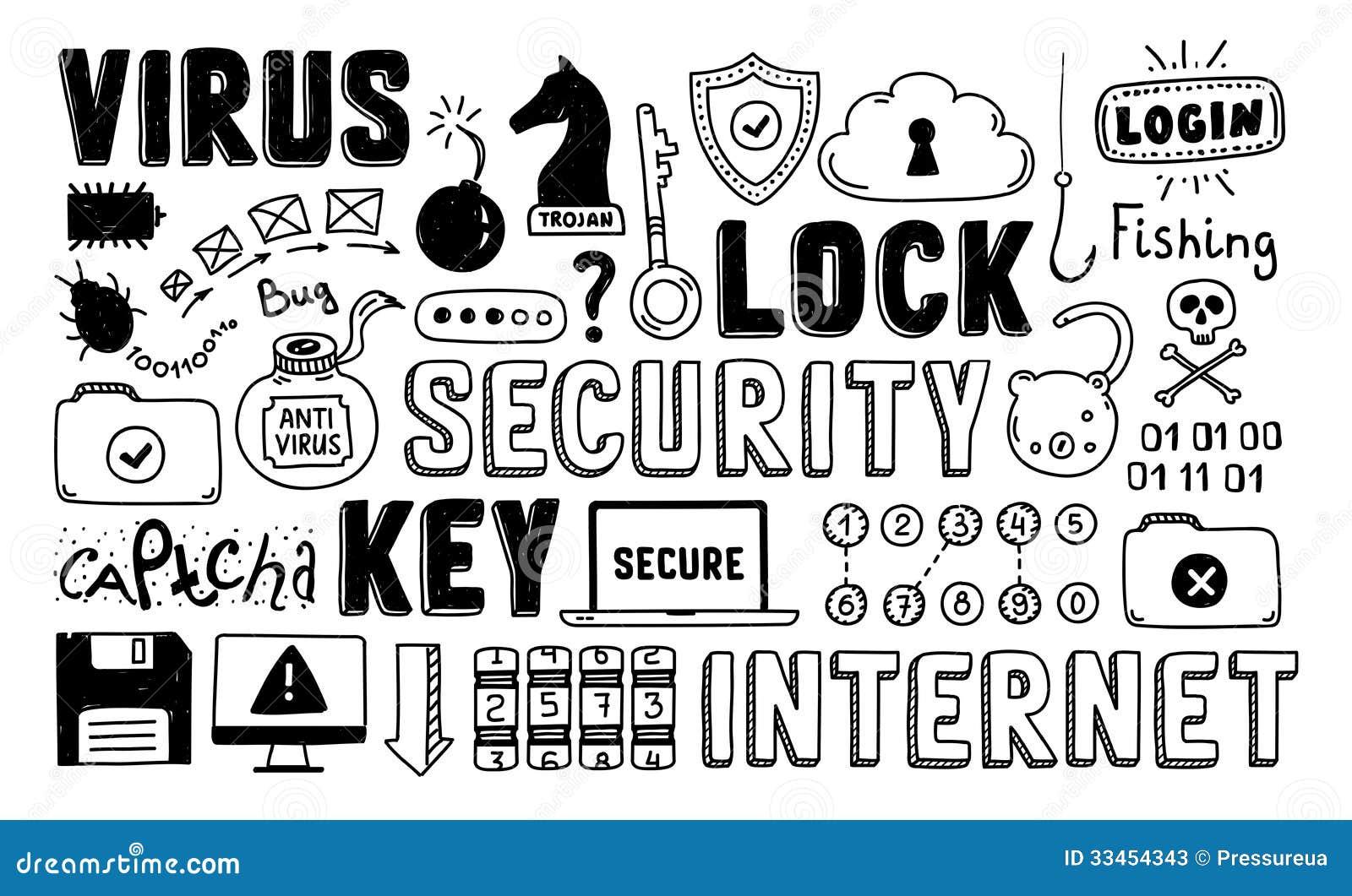 Internet-de vectorreeks van de veiligheidskrabbel