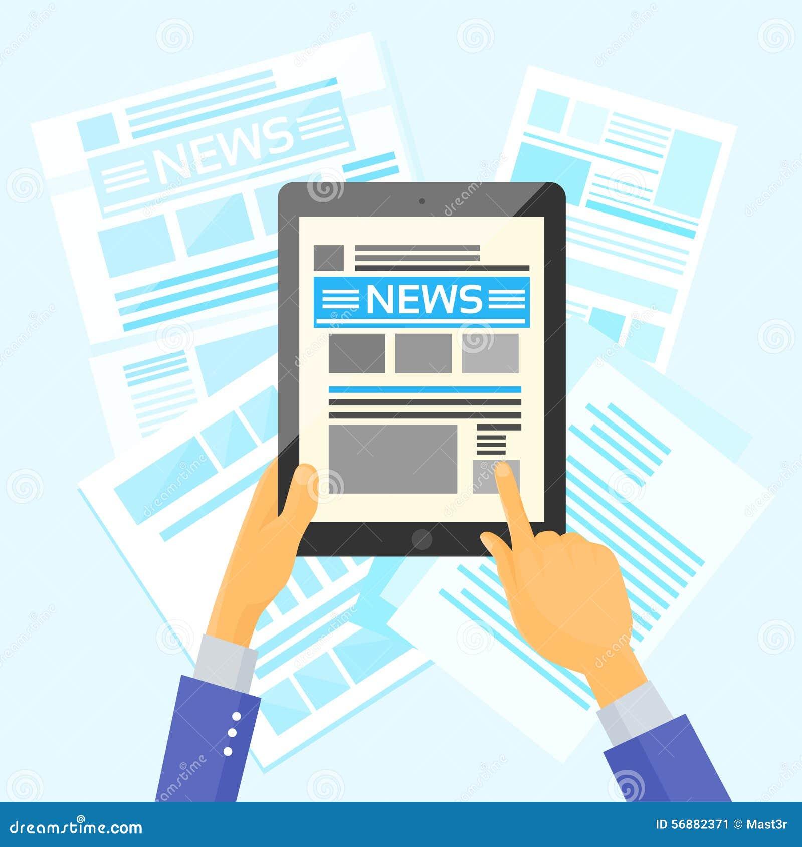 Internet dei giornali dello scrittorio di notizie della compressa della tenuta delle mani