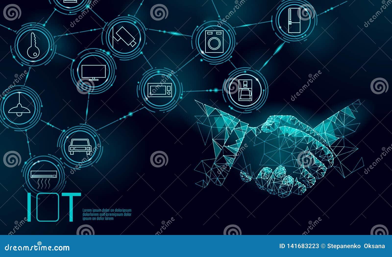 Internet del concepto del apretón de manos del trabajo del icono de las cosas Las TIC inalámbricas de la red de comunicaciones de