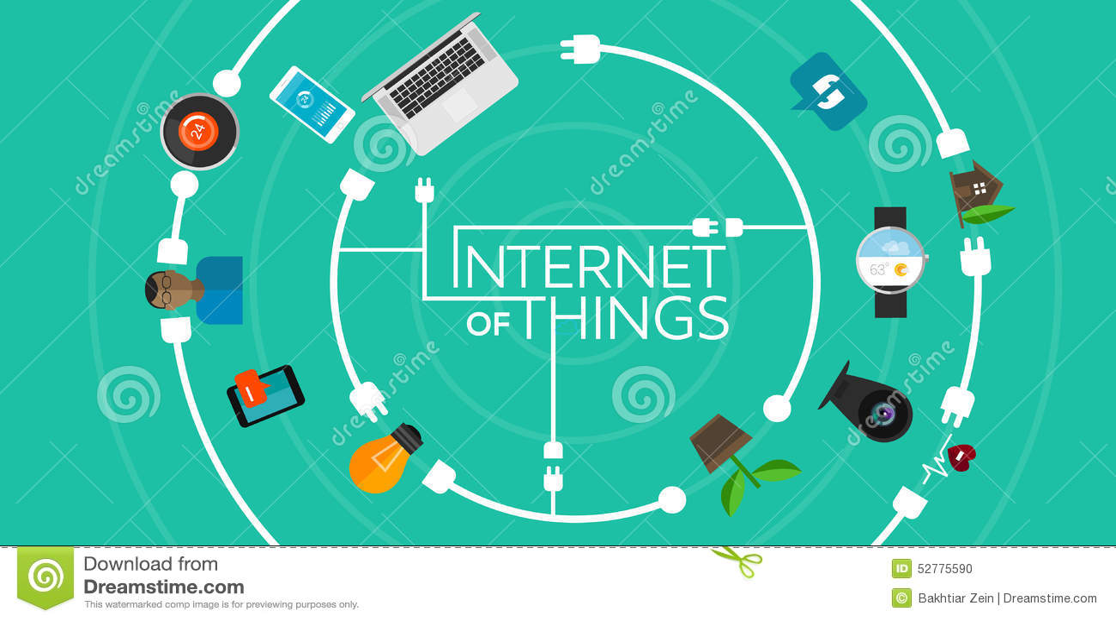 Internet del ejemplo icónico plano de las cosas