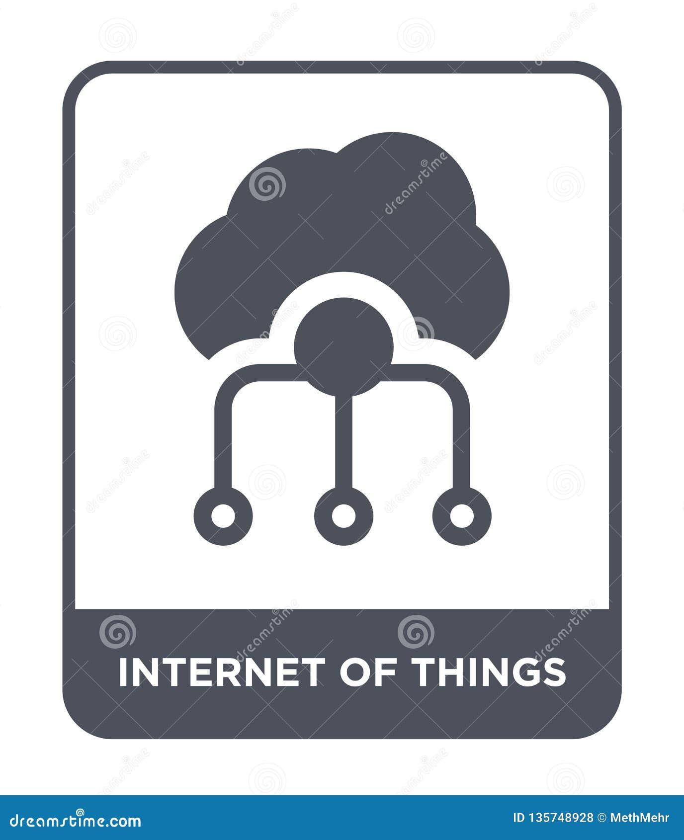 Internet der Sachenikone in der modischen Entwurfsart Internet der Sachenikone lokalisiert auf weißem Hintergrund Internet des Sa