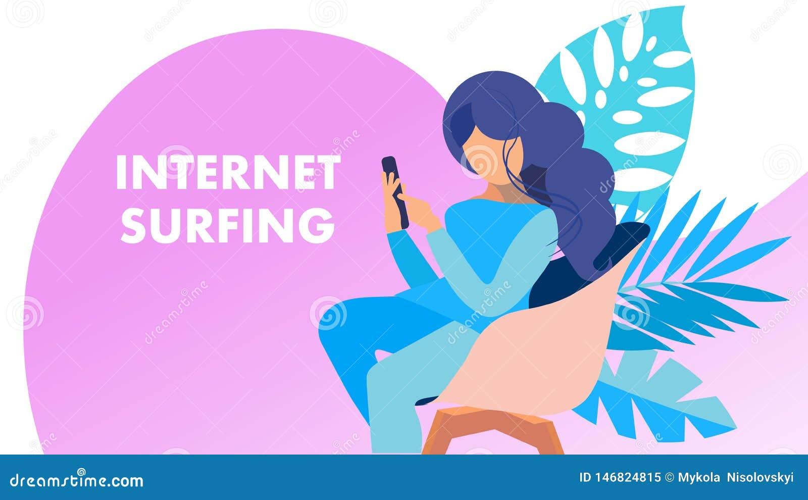 Internet die Zoekend Vectorbannerconcept surfen