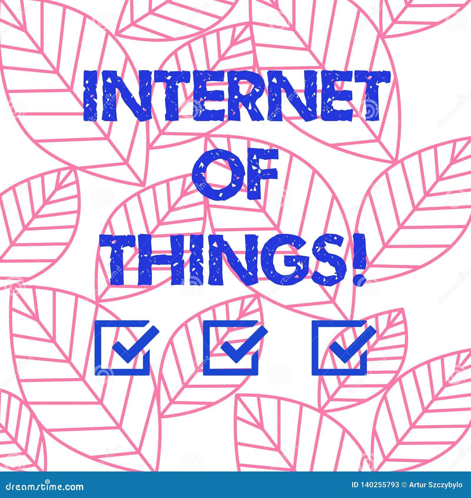 Internet do texto da escrita da palavra das coisas Conceito do negócio para a interconexão através da coleção encaixada dispositi