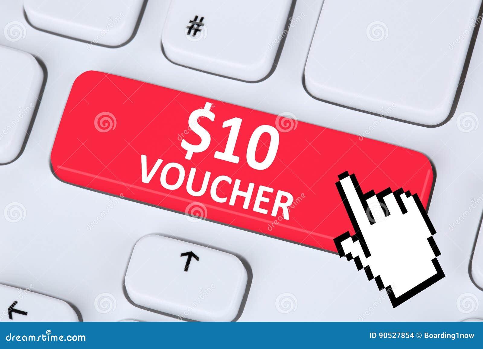 internet en ligne d 39 achats de vente au rabais de cadeau de bon des 10 dollars sh photo stock. Black Bedroom Furniture Sets. Home Design Ideas