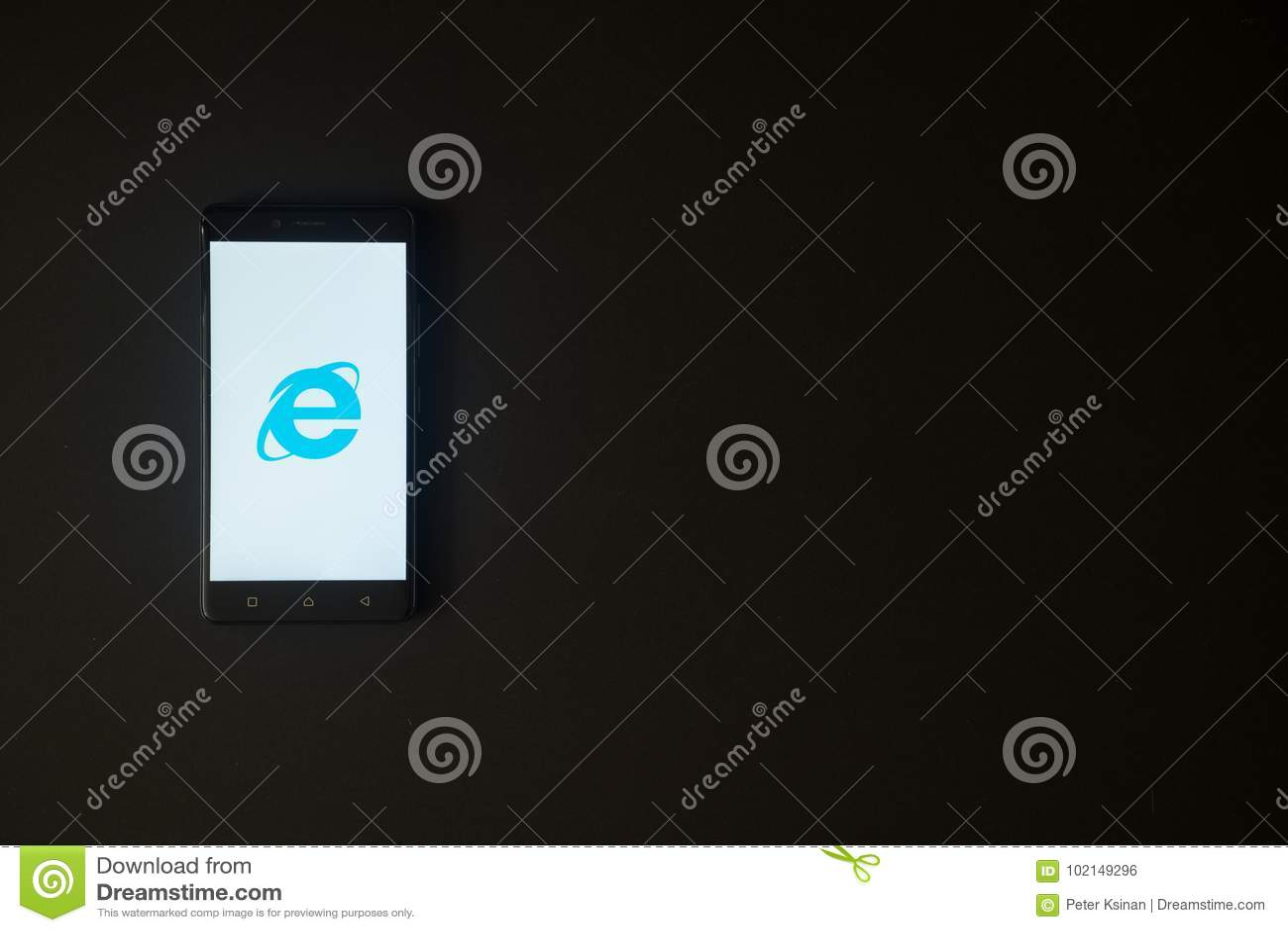 Internet Explorer Logo On Smartphone Screen On Black ...