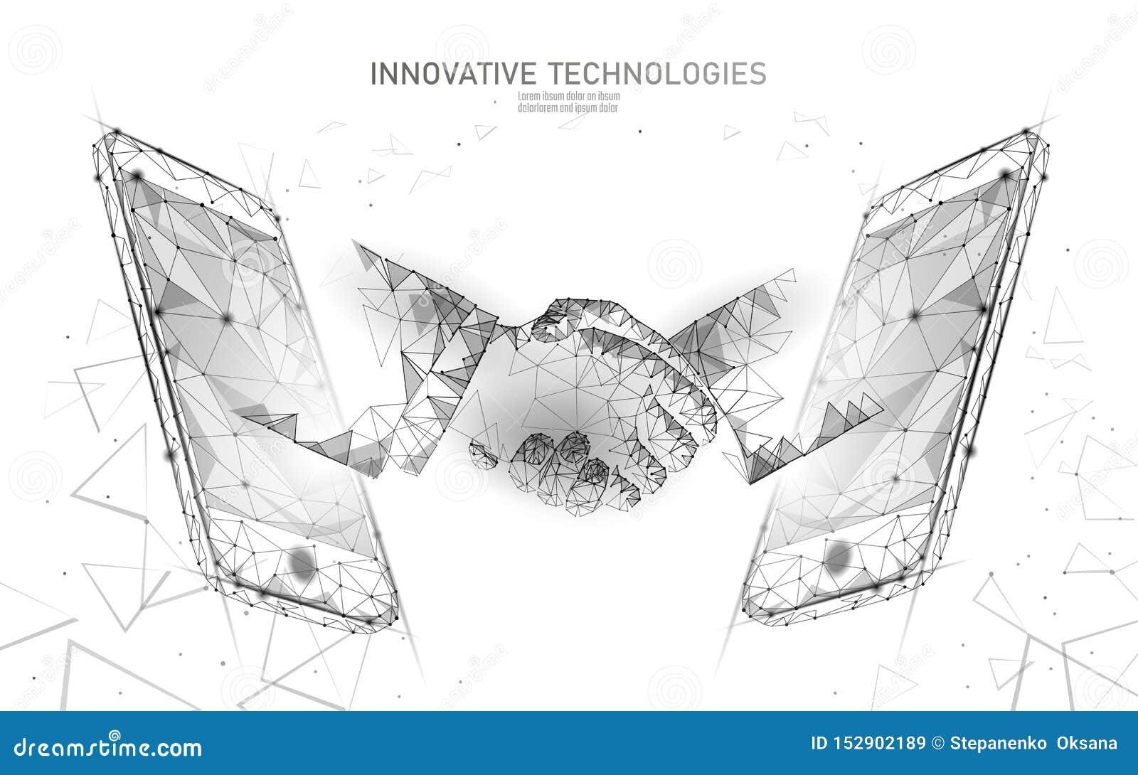 Internet-handdruk van de technologie 3D zakenman Het concept van het bedrijfsovereenkomstencontract Het netwerk lage polybanner v