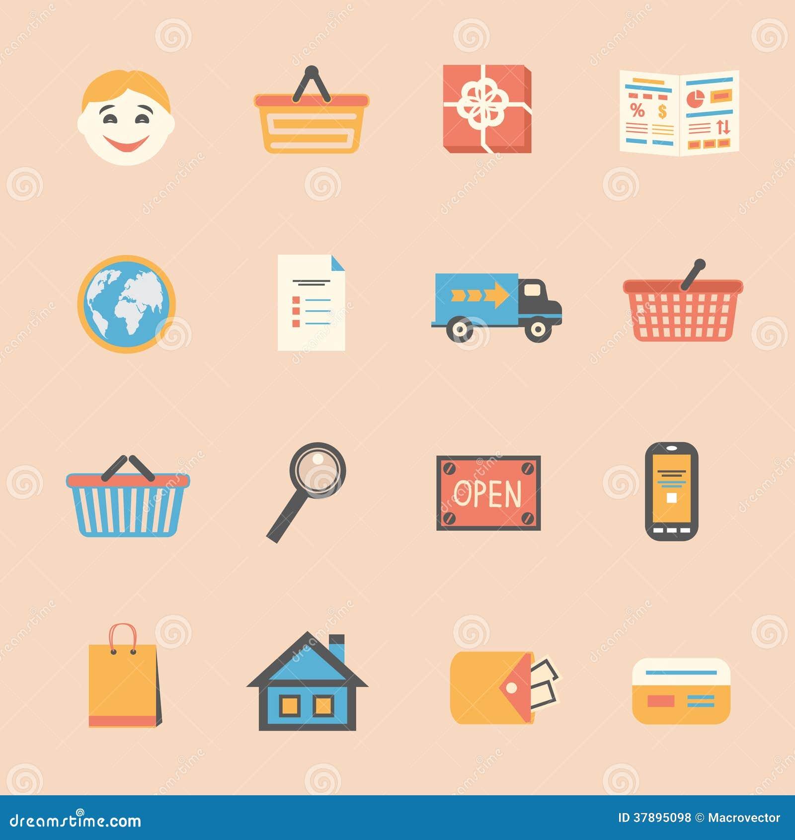 Internet-het winkelen geplaatste pictogrammen