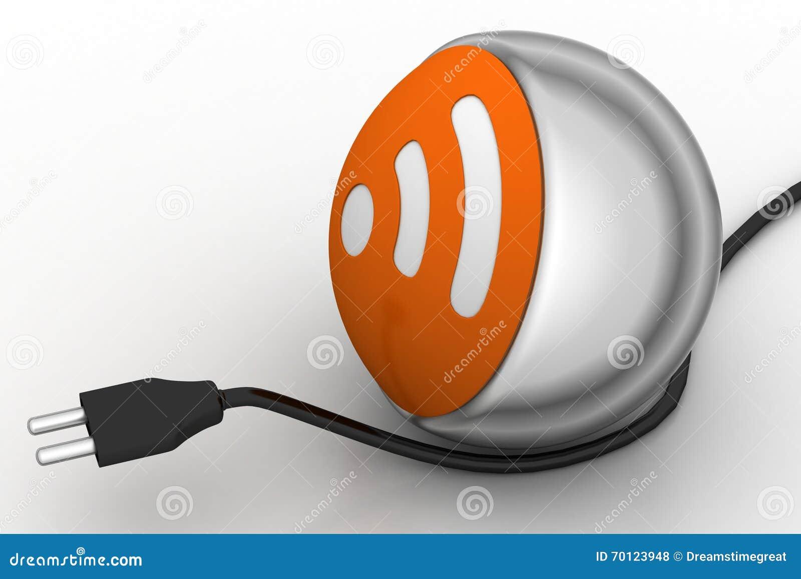 internet-ikone mit stromkabel stock abbildung - illustration von
