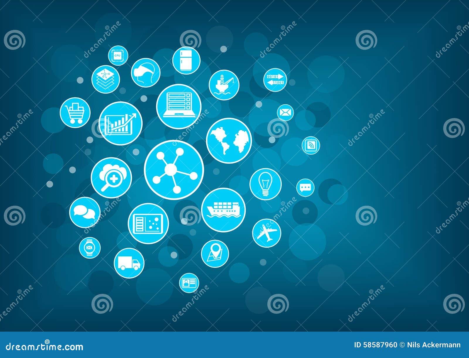 Internet industriale del concetto di cose (IIOT) Illustrazione di vettore delle icone