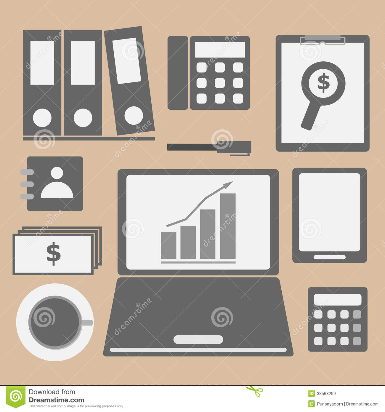 Internet Investor At Home Office Icon Stock Vector