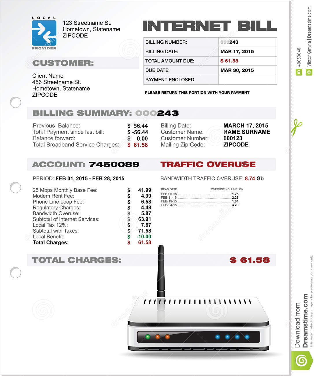 internet isp expenses bill document template with router