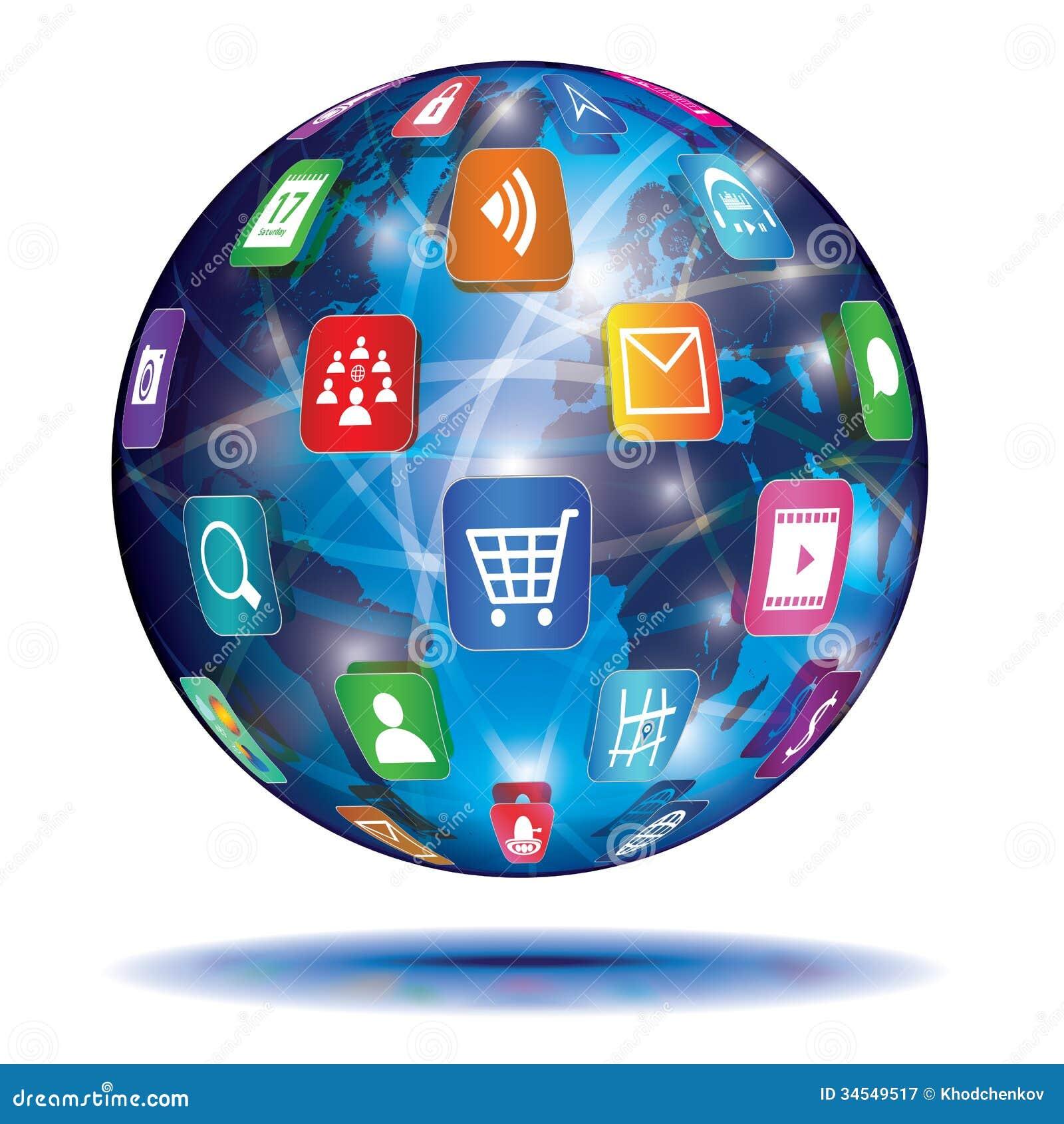 Internet-Konzept. Kugel. Anwendungsikonen.