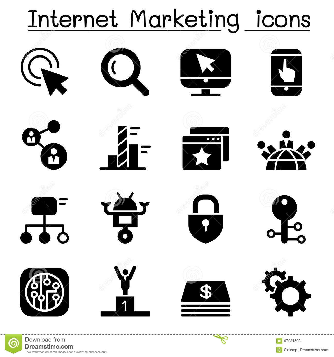 Internet Marketing & Search Engine Optimization Icon Set