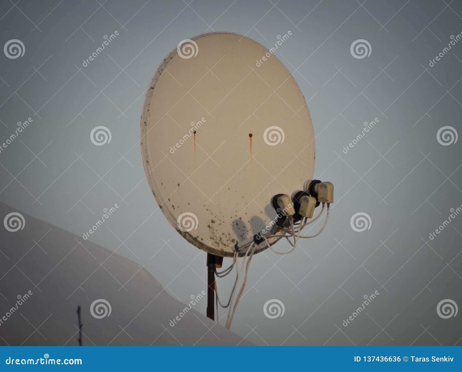 Internet-mededeling en de satellietdieschotel van TV op het dak van het huis bij groene bomenachtergrond wordt geïnstalleerd