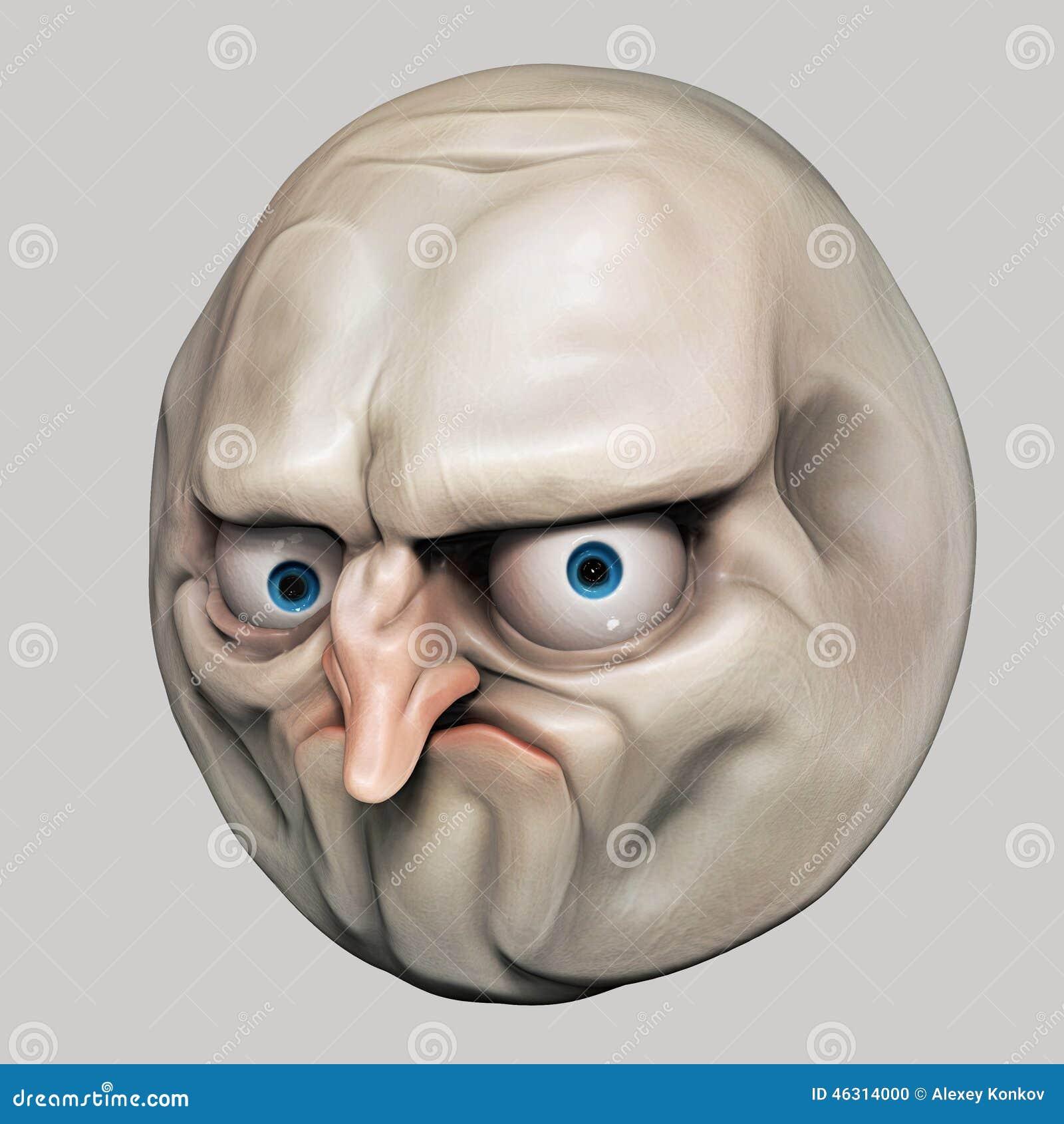 Internet Meme No Rage Face 3d Illustration Stock