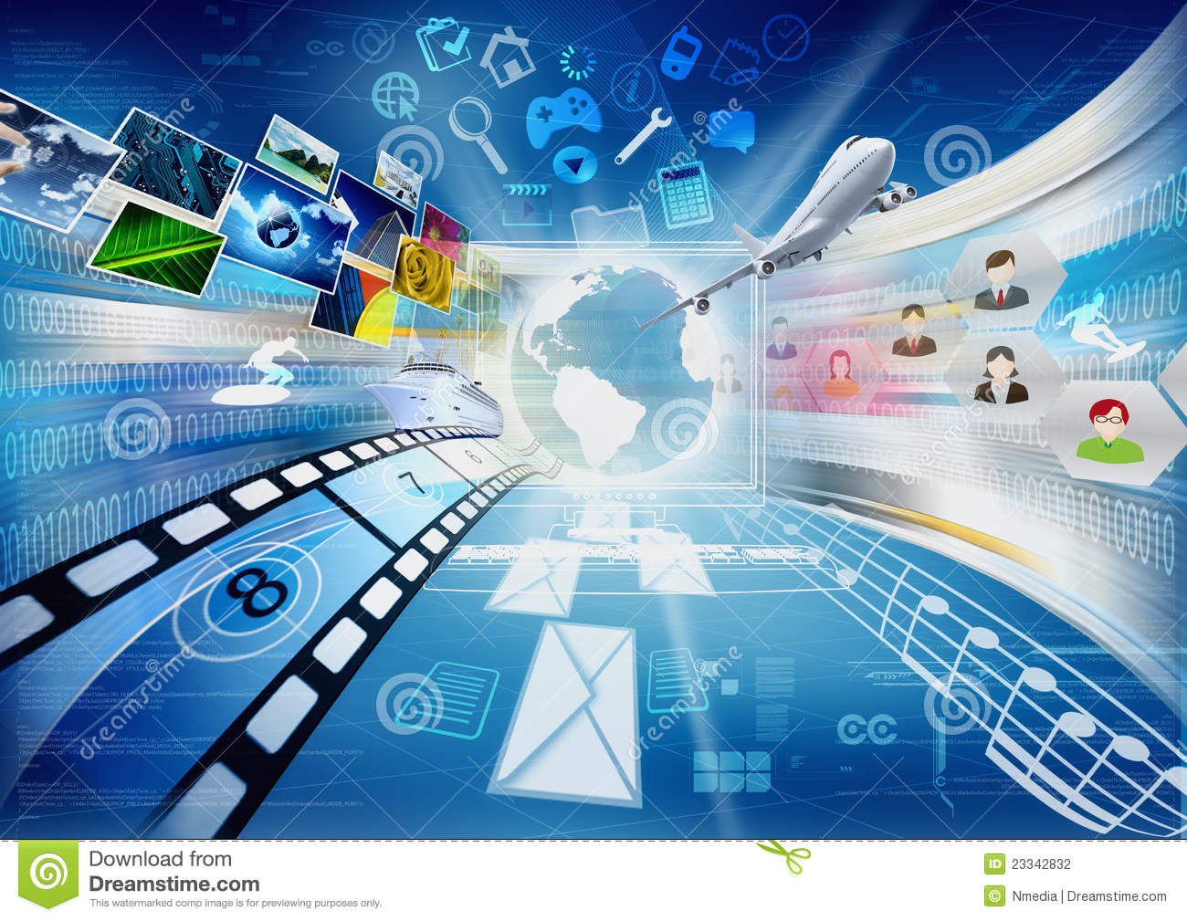 internet for multimedia sharing stock photography image