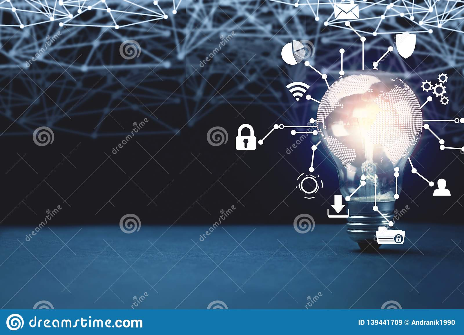 Internet network with creative light bulb. Business technology concept