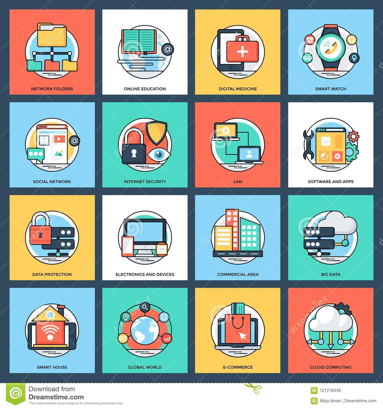 Internet And Networking Icons Stock Illustration