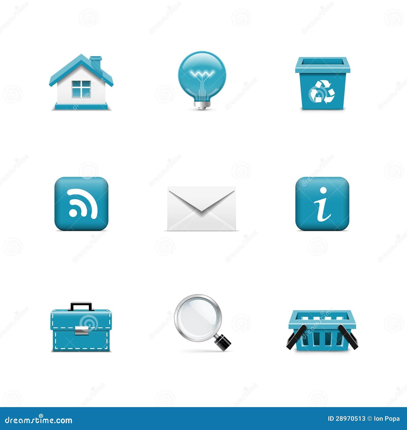 Internet- och rengöringsduksymboler. Azzuro serie