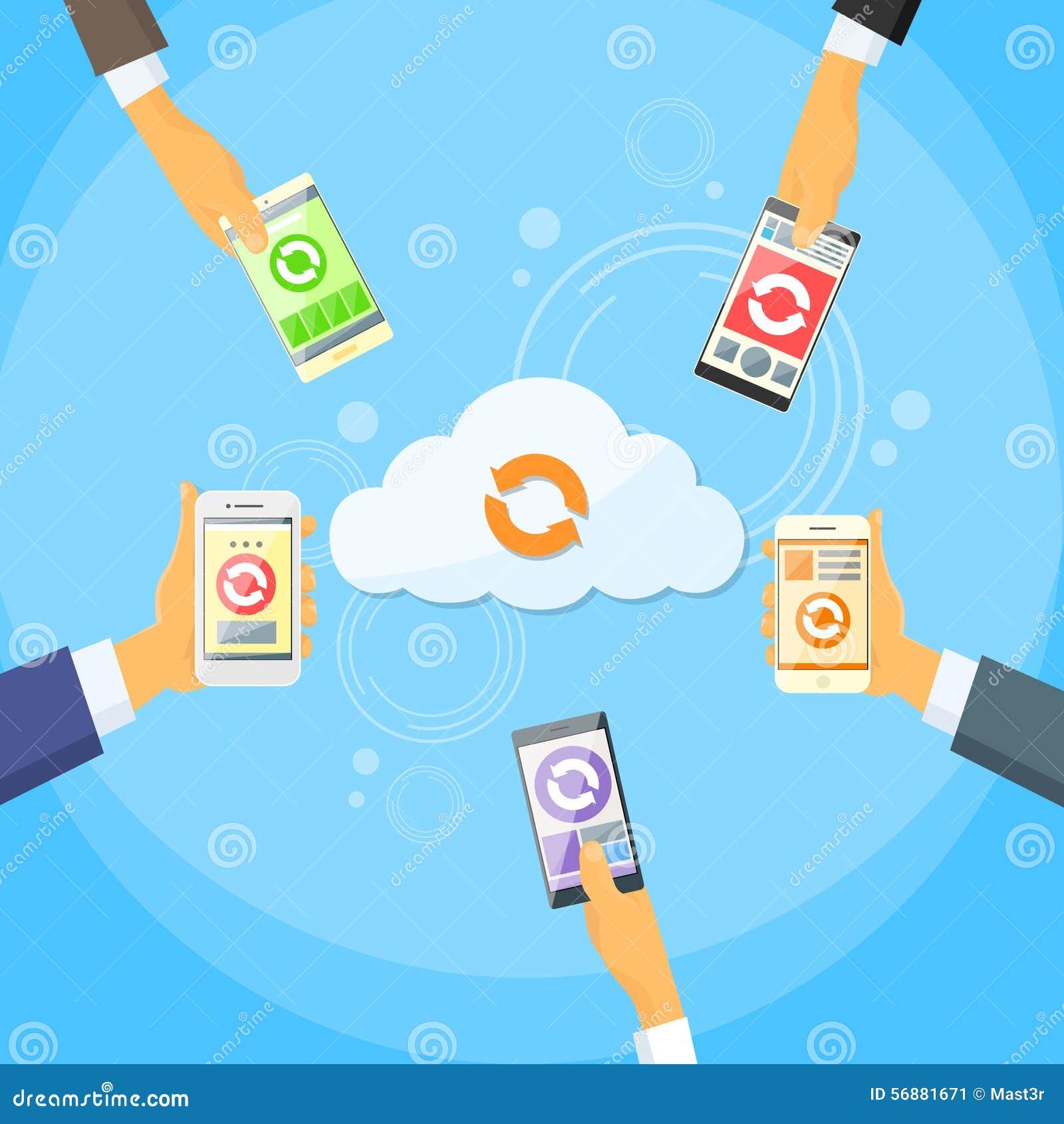 Internet online del telefono cellulare della nuvola della parte astuta di dati