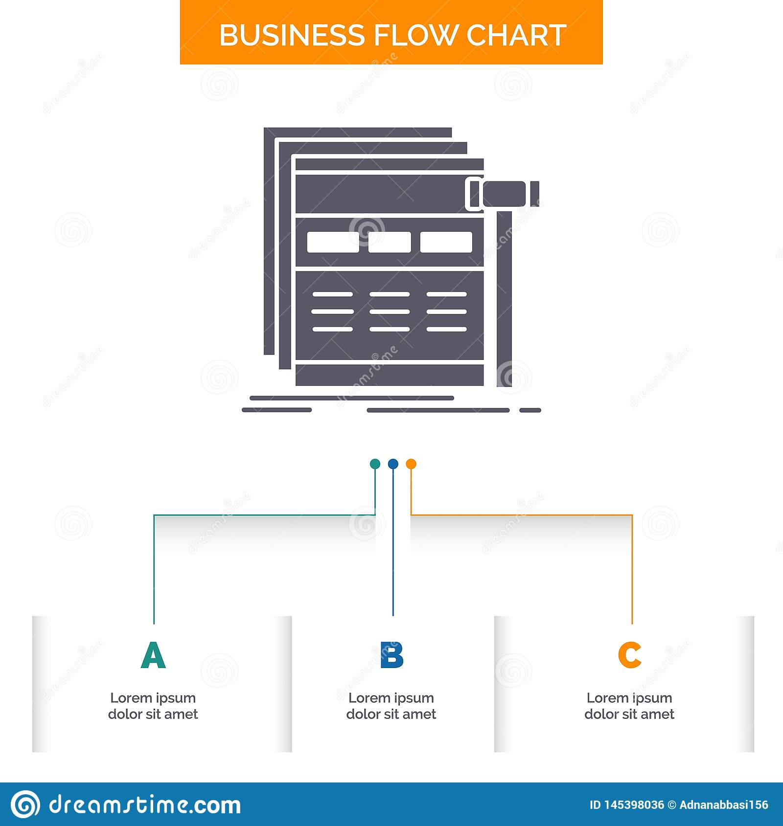 Internet, page, web, webpage, wireframe Business Flow Chart Design with 3 Steps. Glyph Icon For Presentation Background Template