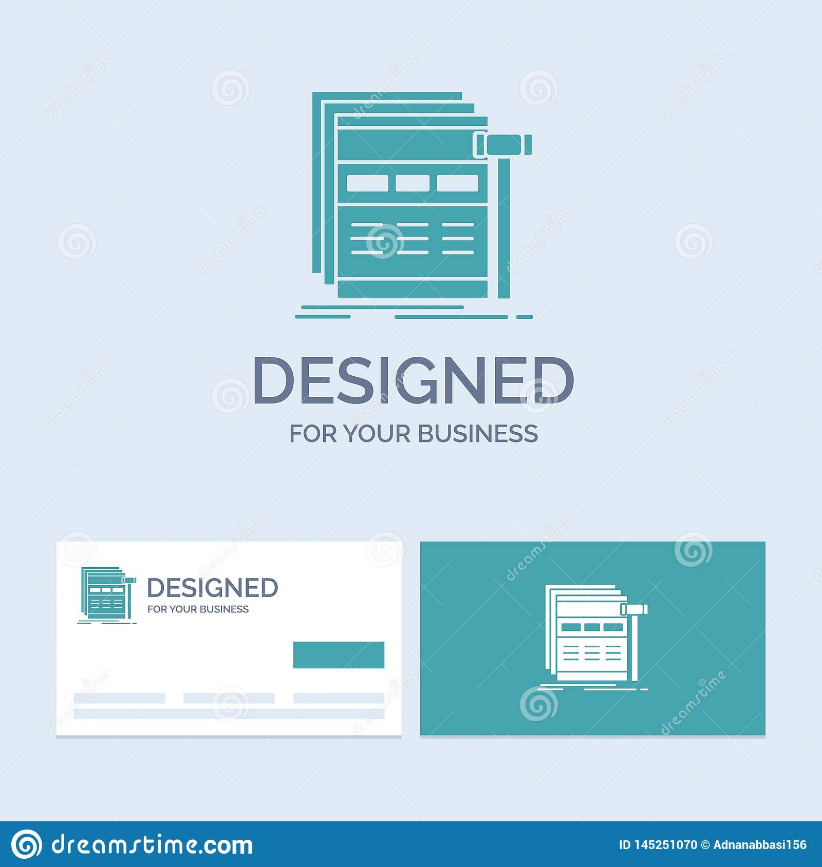 Internet, page, web, webpage, wireframe Business Logo Glyph Icon Symbol for your business. Turquoise Business Cards with Brand