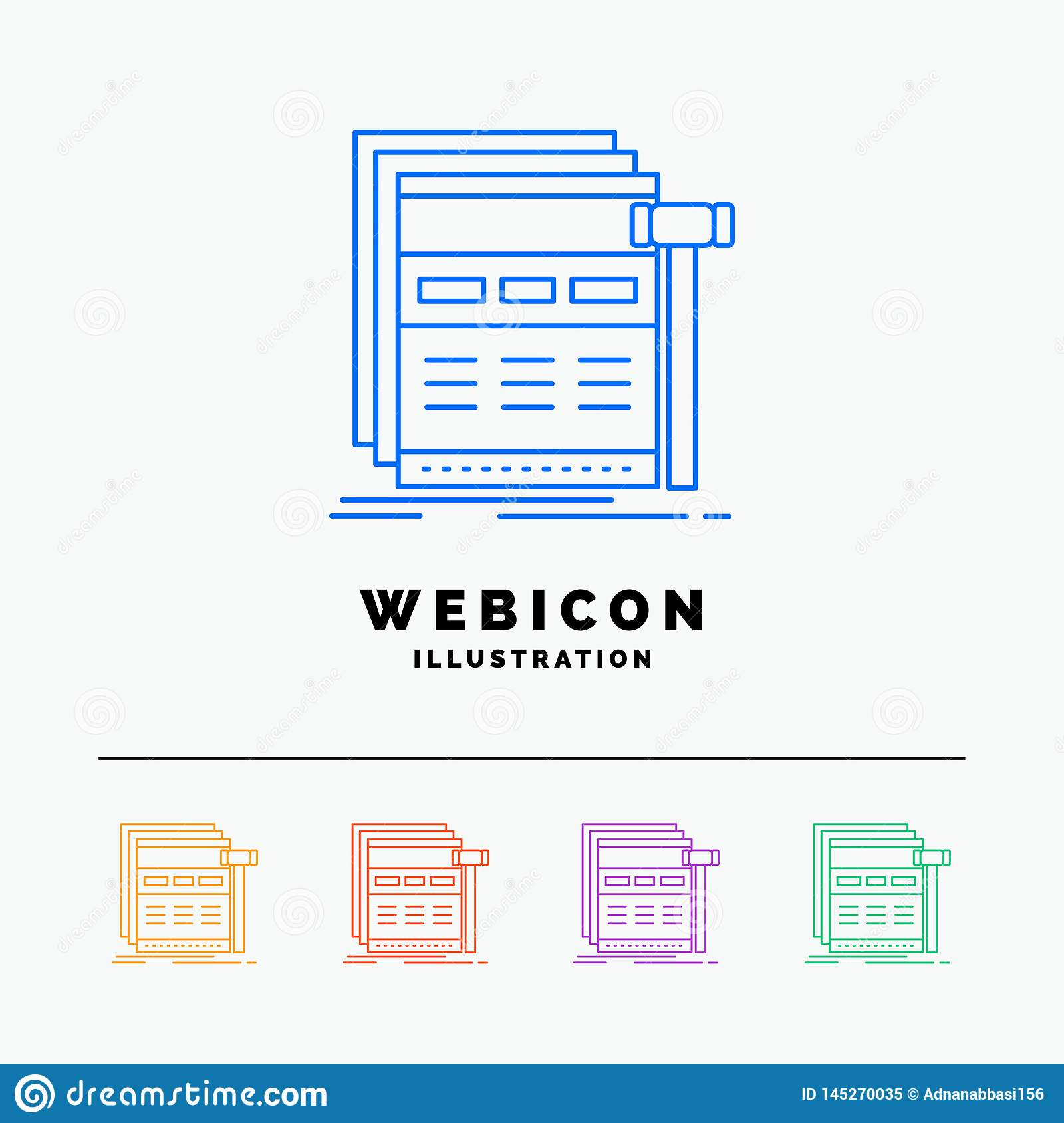 Internet, page, web, webpage, wireframe 5 Color Line Web Icon Template isolated on white. Vector illustration