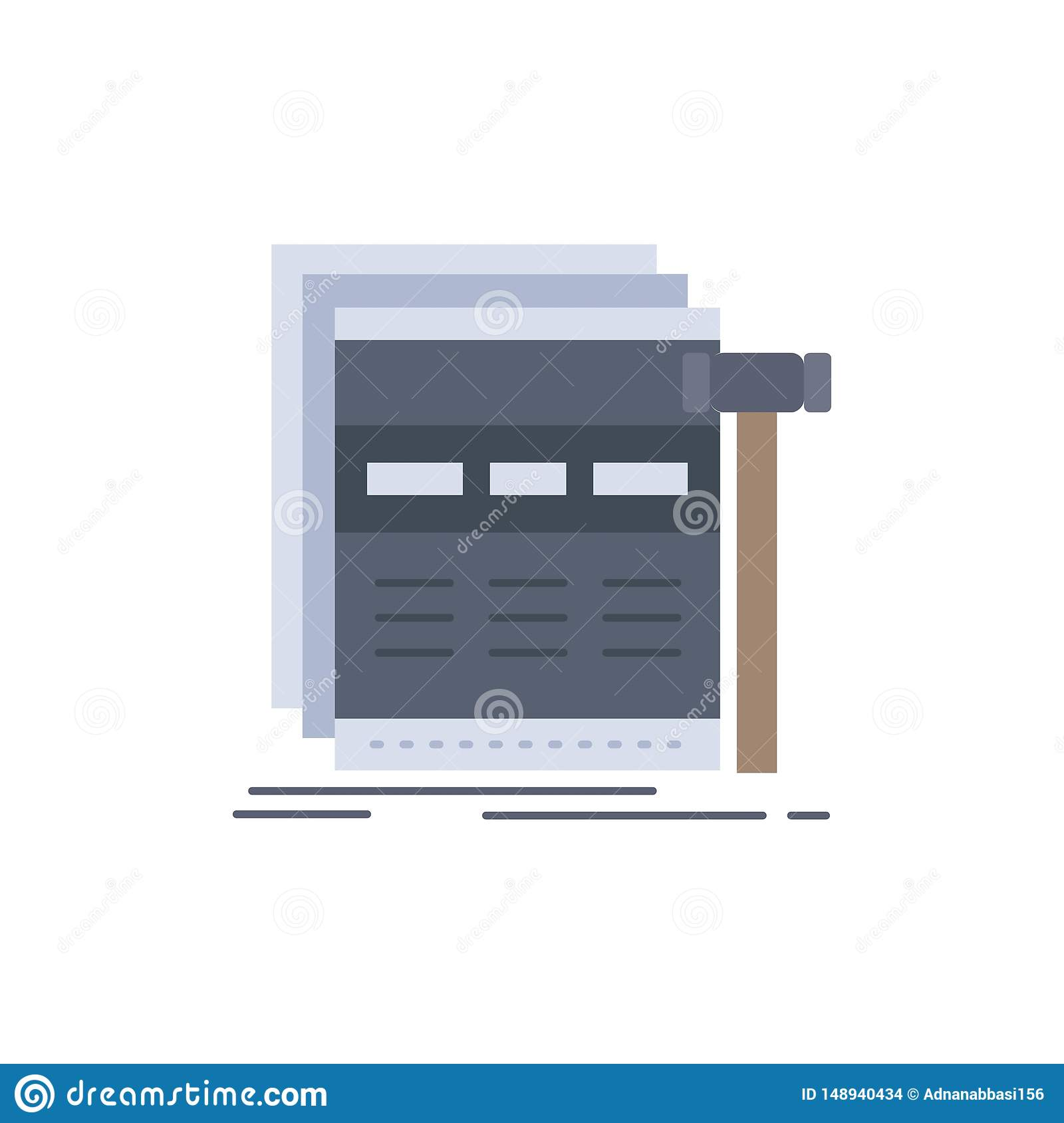 Internet, page, web, webpage, wireframe Flat Color Icon Vector