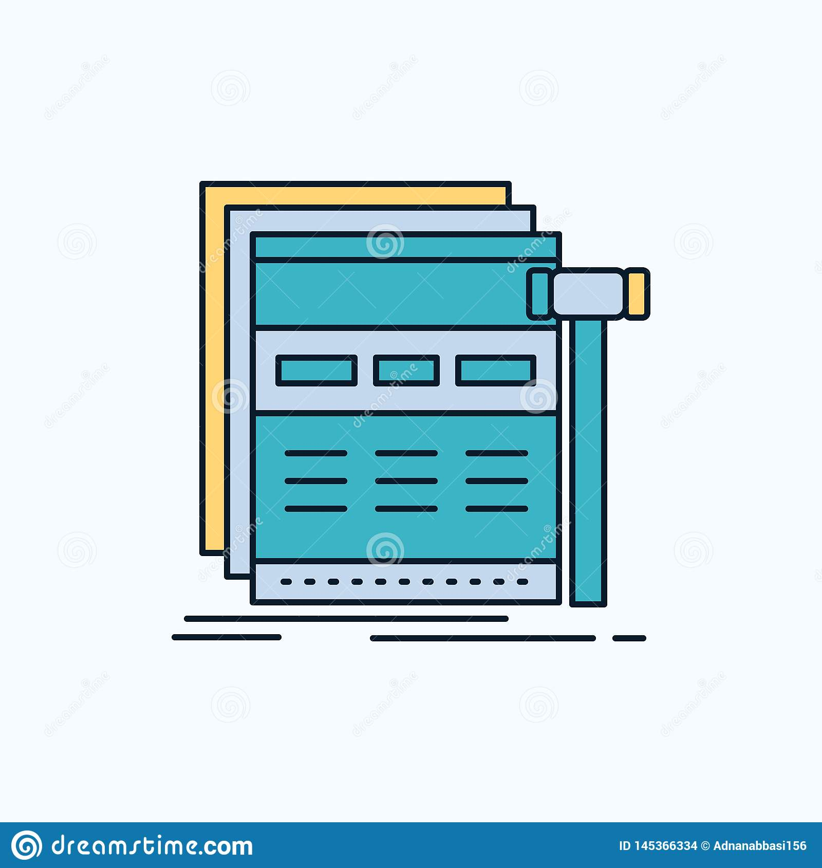 Internet, page, web, webpage, wireframe Flat Icon. green and Yellow sign and symbols for website and Mobile appliation. vector