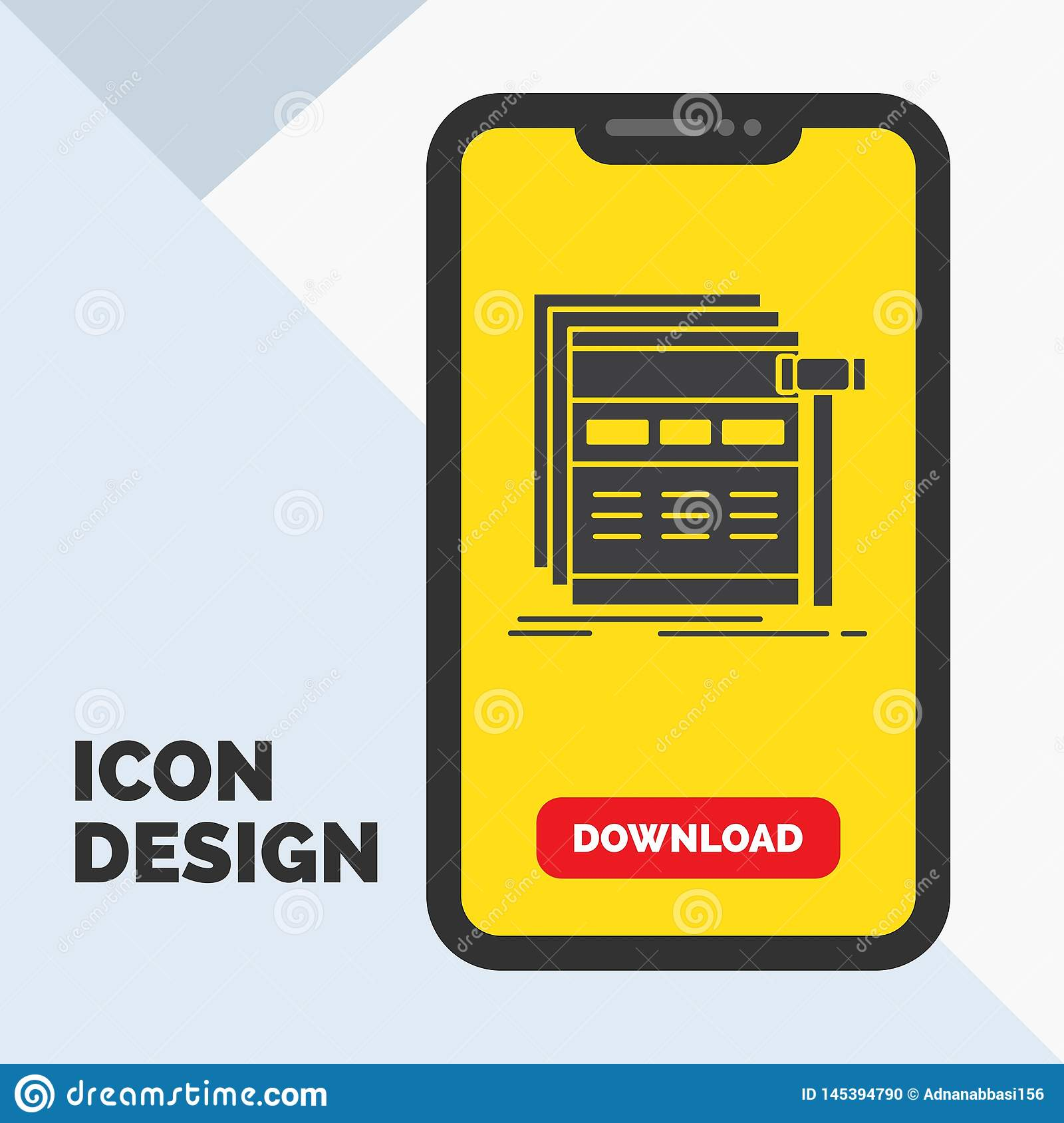 Internet, page, web, webpage, wireframe Glyph Icon in Mobile for Download Page. Yellow Background