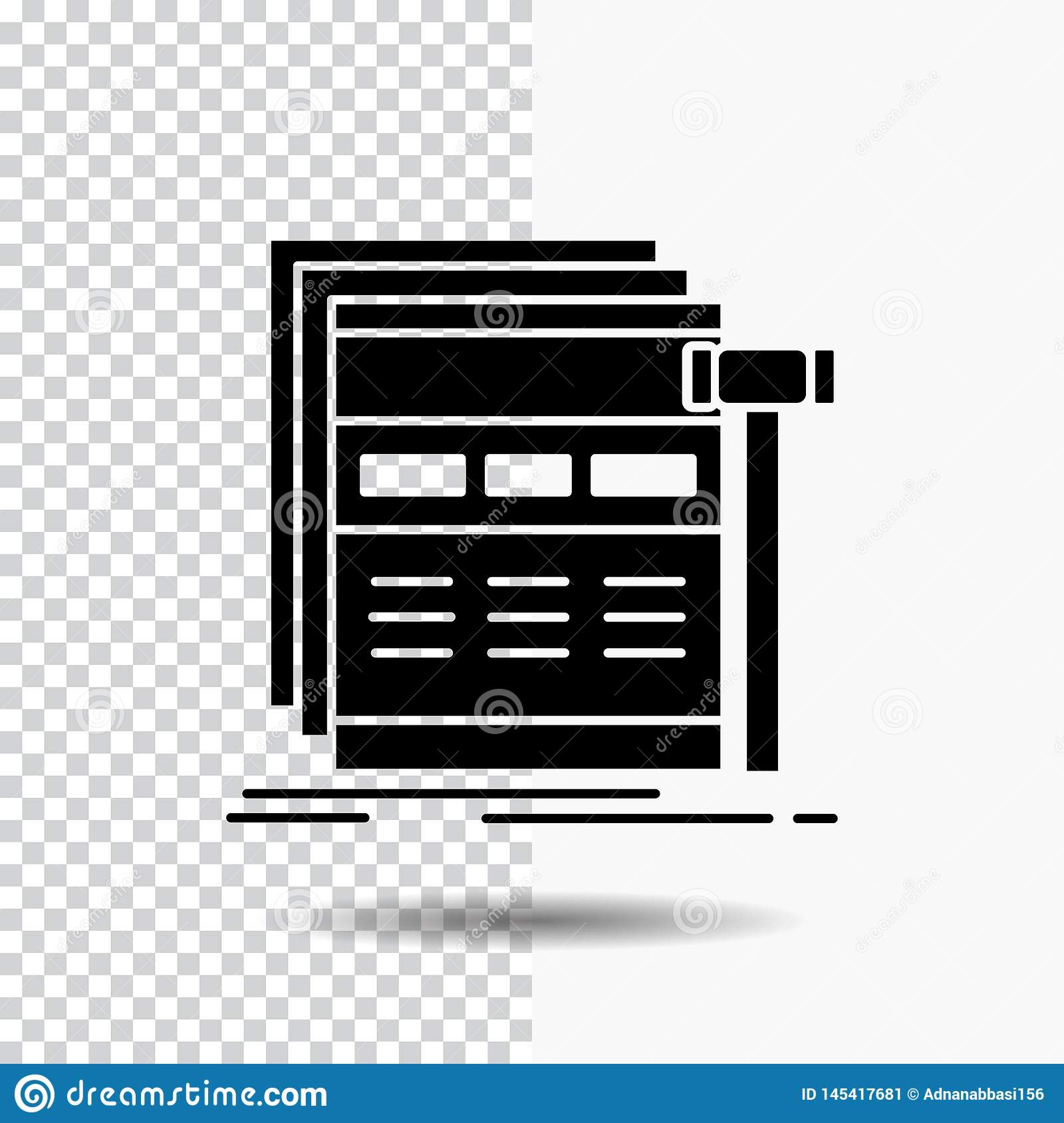 Internet, page, web, webpage, wireframe Glyph Icon on Transparent Background. Black Icon