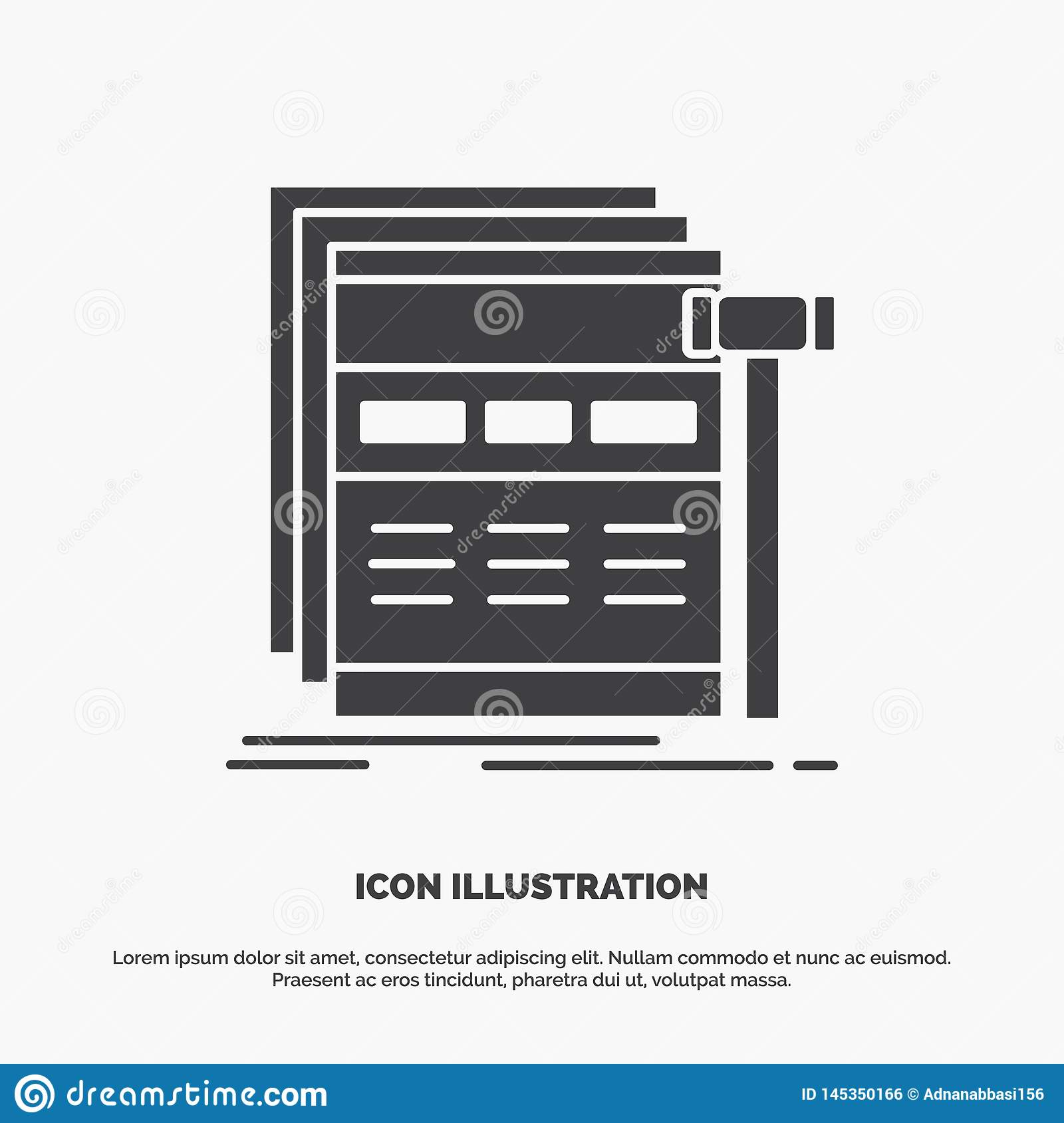 Internet, page, web, webpage, wireframe Icon. glyph vector gray symbol for UI and UX, website or mobile application