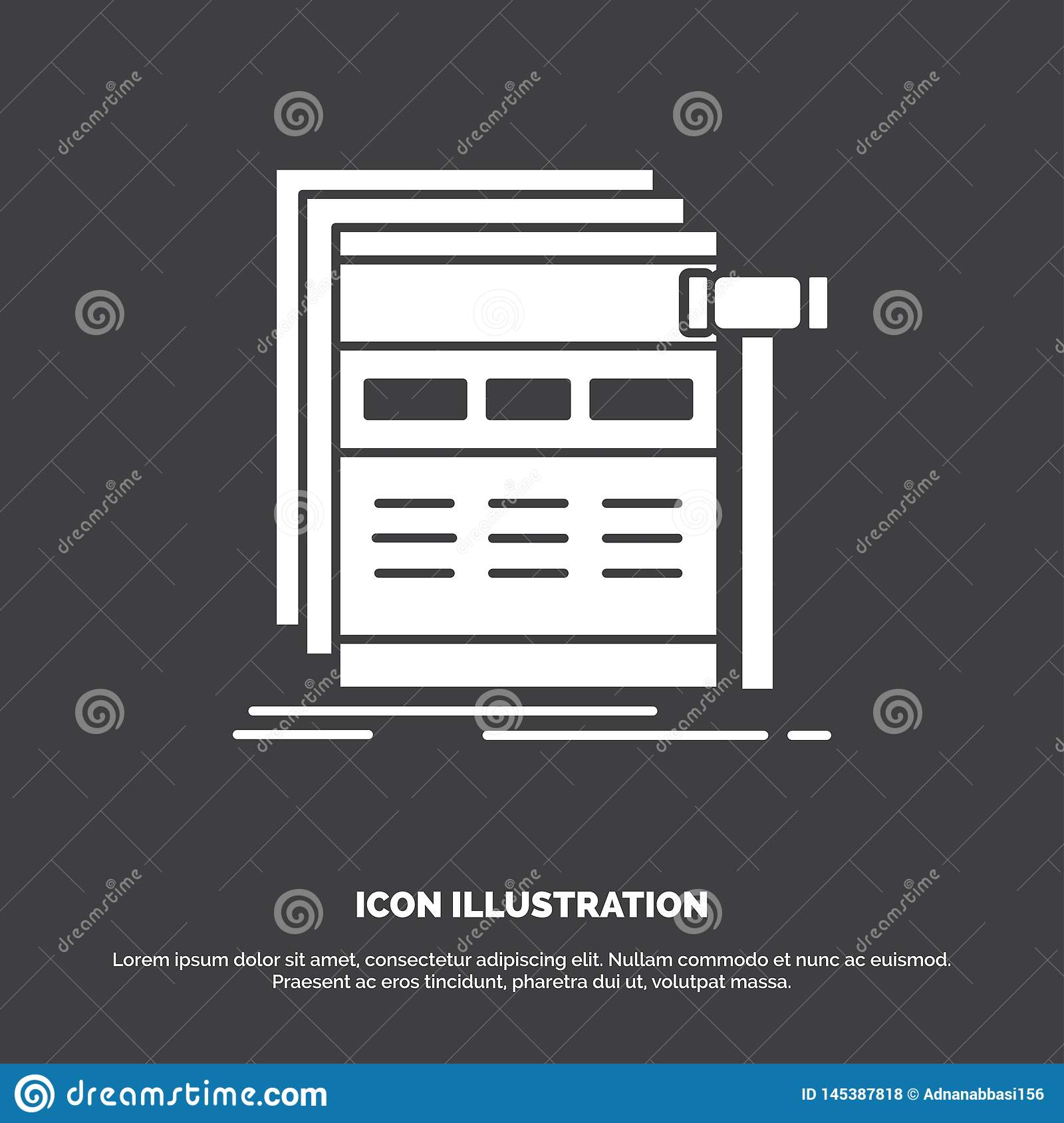 Internet, page, web, webpage, wireframe Icon. glyph vector symbol for UI and UX, website or mobile application