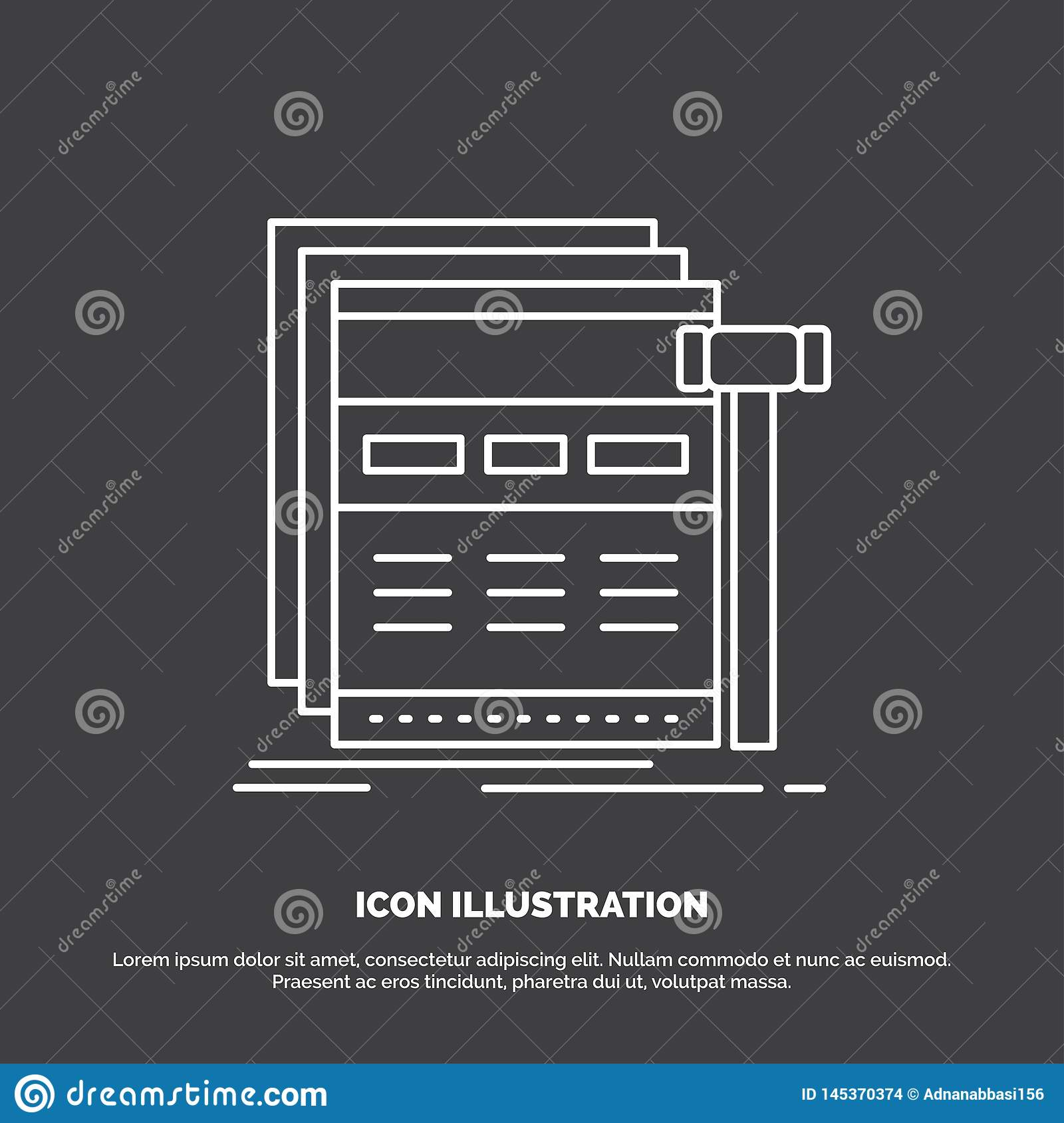 Internet, page, web, webpage, wireframe Icon. Line vector symbol for UI and UX, website or mobile application